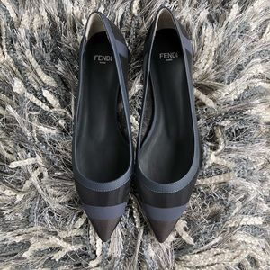 Fendi Black/Navy Blue Mesh Pointed Toe Ballet